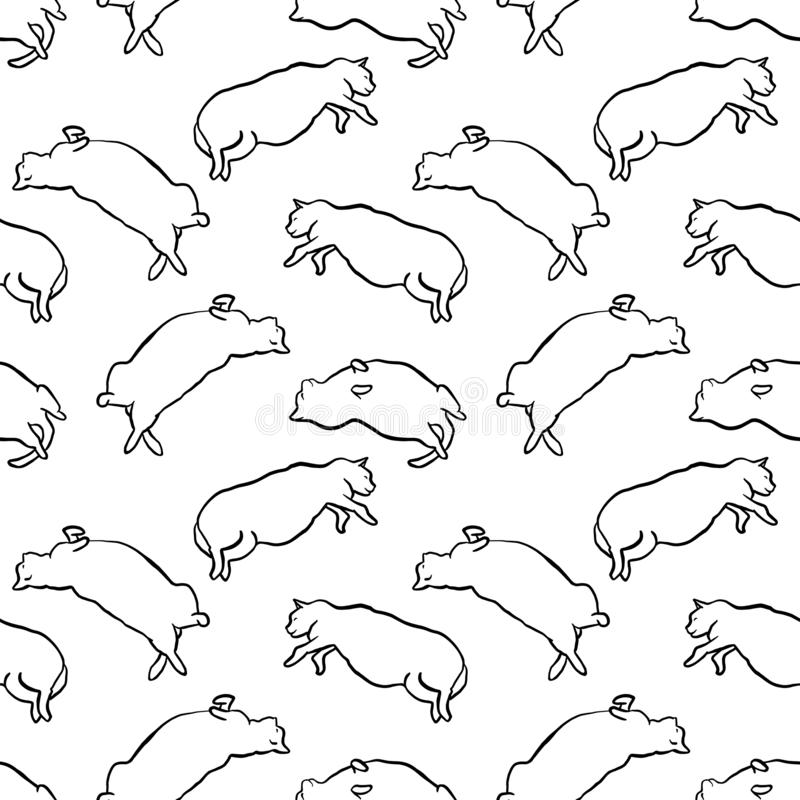 Funny hand drawn fat cats seamless pattern. Funny hand drawn fat cats lying seamless pattern. Animal vector outline sketch background illustration with kitties royalty free illustration