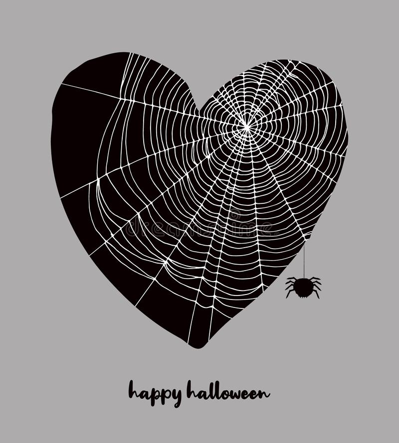 Funny Hand Drawn Halloween Vector Illustration with Black Heart Covered with White Cobweb. vector illustration