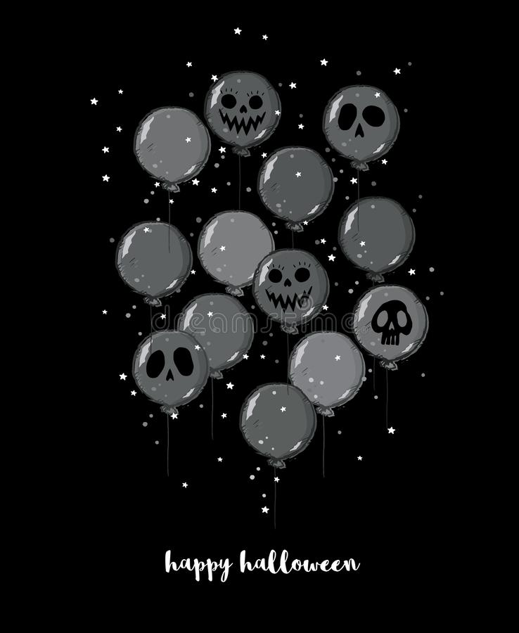 Funny Hand Drawn Halloween Vector Illustration. Scary Dark Grey Balloons with Ghost Faces. royalty free illustration