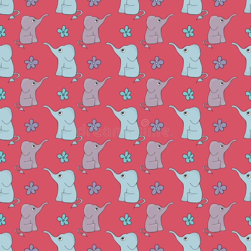 Funny hand-drawn seamless pattern with cute elephants royalty free illustration