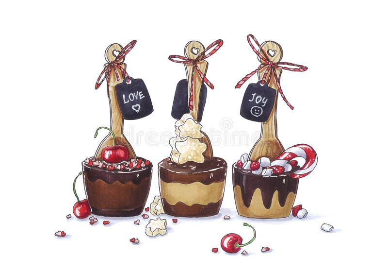 Funny hand drawn sketch of party dark, milk and white chocolate spoons with cherry, marshmallow, candy decorated with tags. stock images
