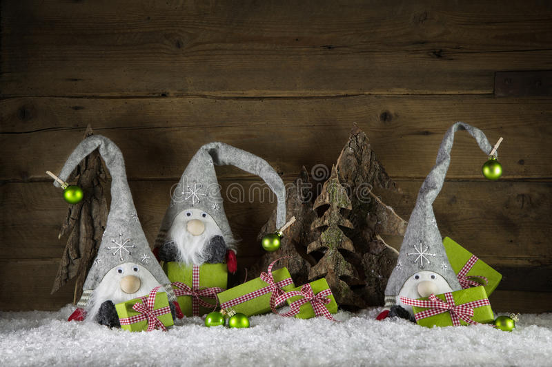 Funny handmade christmas decoration in red, white, green, brown stock images