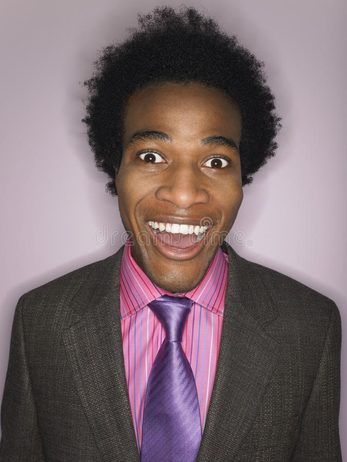 Funny Happy Afro Businessman stock image