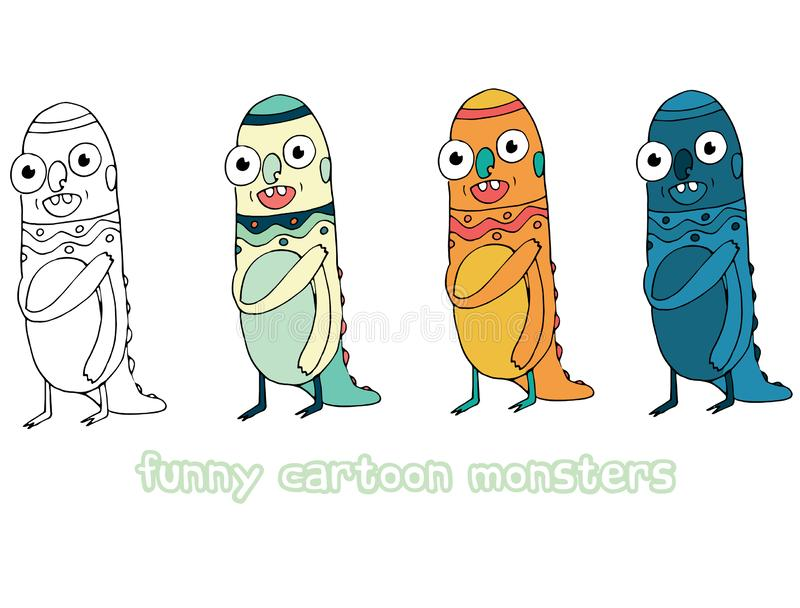 Funny happy cartoon colored write hand made draw doodle monster aliens. Funny happy cartoon colored write hand made draw doodle monsters aliens royalty free illustration