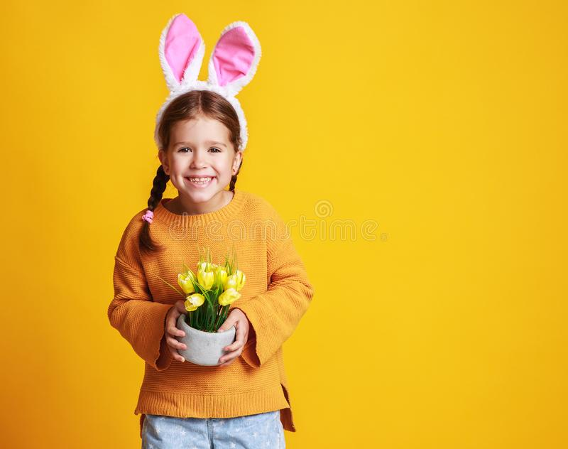 Funny happy child girl with easter bunny ears and with spring flowers tulips on yellow stock photos