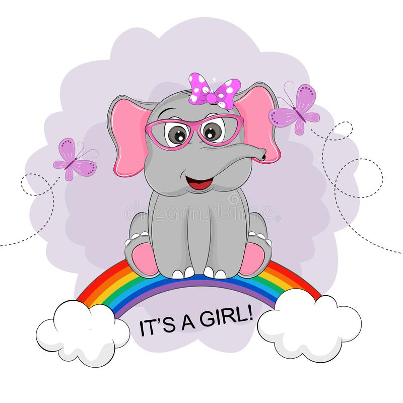Funny happy cute elephant girl in sunglasses is sitting on a rainbow. vector illustration