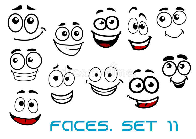 Funny happy faces cartoon characters stock illustration