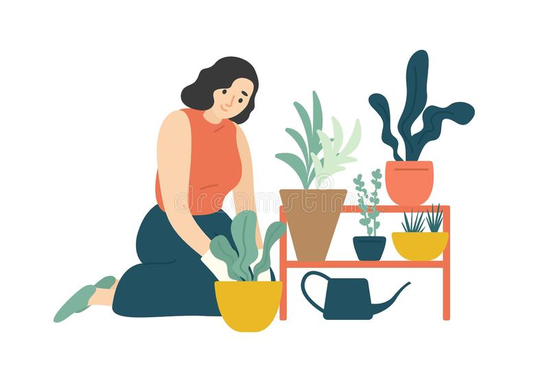 Funny happy girl taking care of houseplants growing in planters. Young cute woman cultivating potted plants at home stock illustration