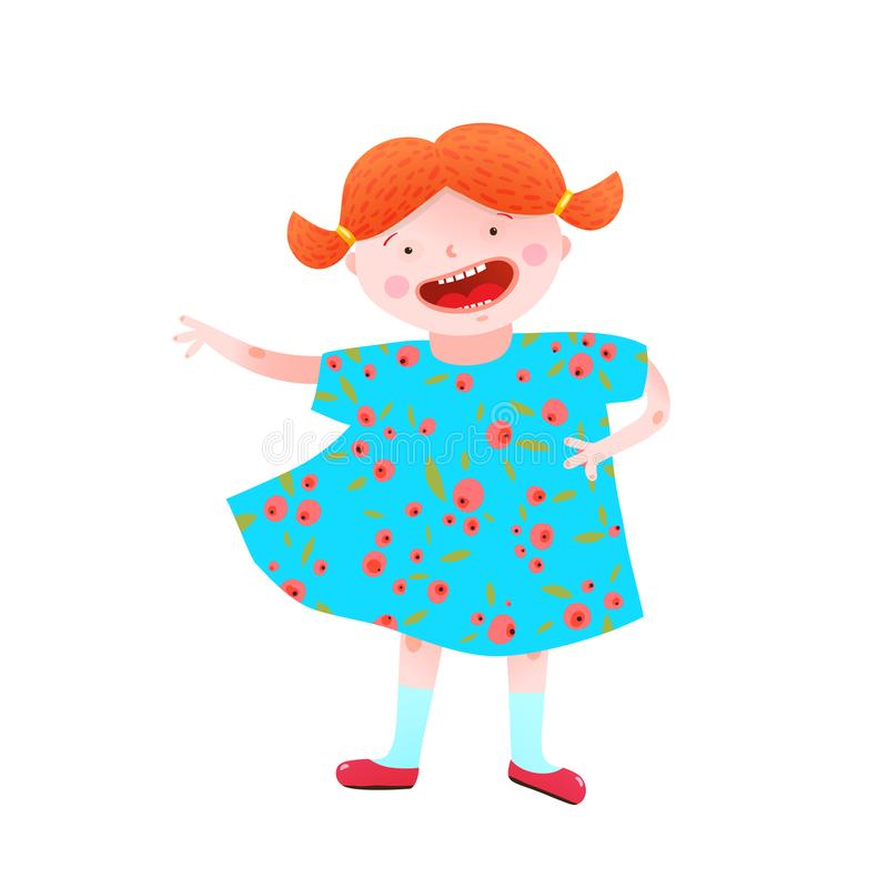 Funny Happy Little Girl Red Head Character. Childish girlish mascot happy and cheerful vivid colors. Vector illustration royalty free illustration