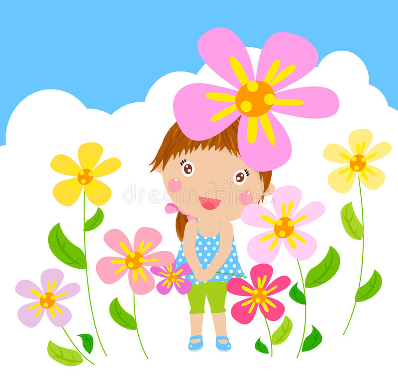 Funny Happy Smiling Girl With Flower Royalty Free Stock Photo
