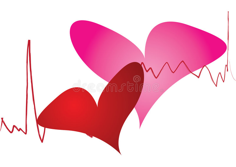 Funny heart beat. In solid background royalty free illustration