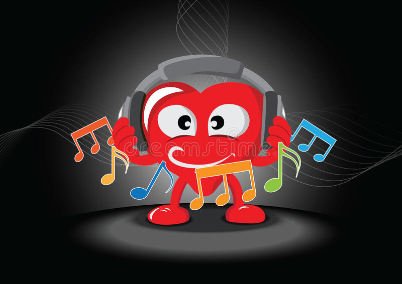 Funny Heart Listening The Music Royalty Free Stock Image