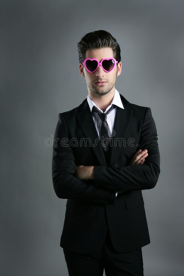 Download Funny Heart Shape Pink Sunglasses Businessman Royalty Free Stock Photography - Image: 16225967