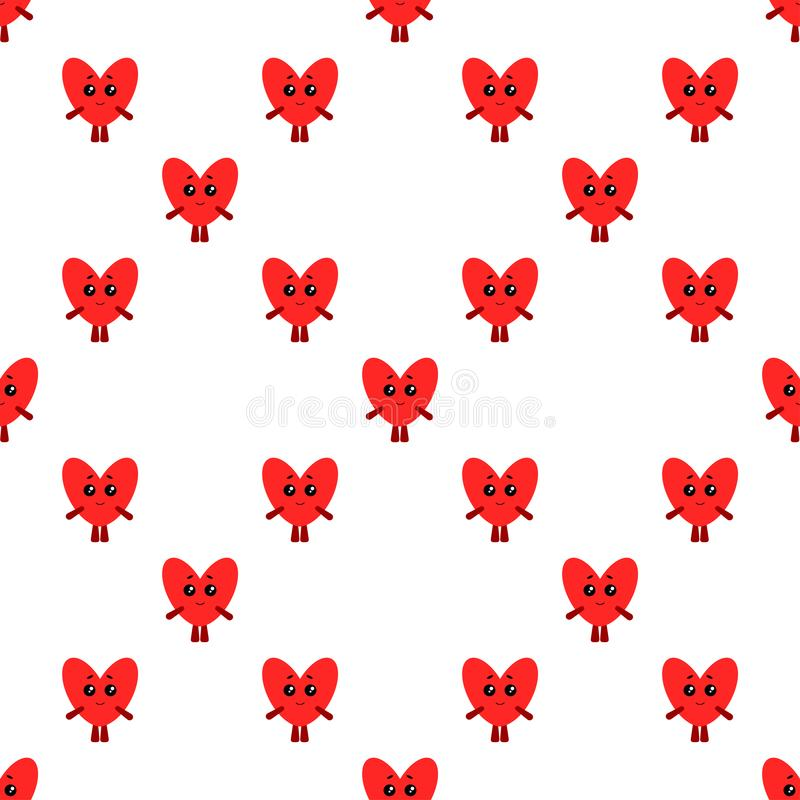 Funny hearts. Seamless vector pattern for Valentines day, wedding background. Flat style stock illustration