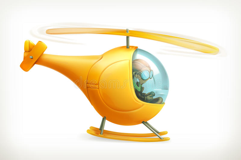 Funny helicopter icon. Funny yellow helicopter, vector icon, on white background vector illustration