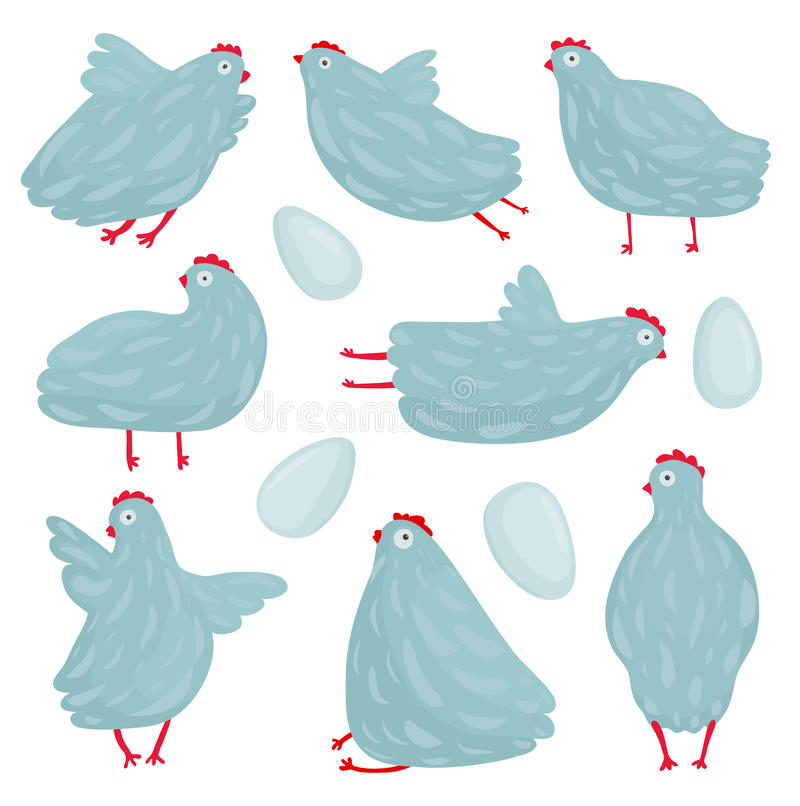 Funny Hen Poses and Eggs Collection. Hen birds in different poses set drawing. Vector EPS8 royalty free illustration