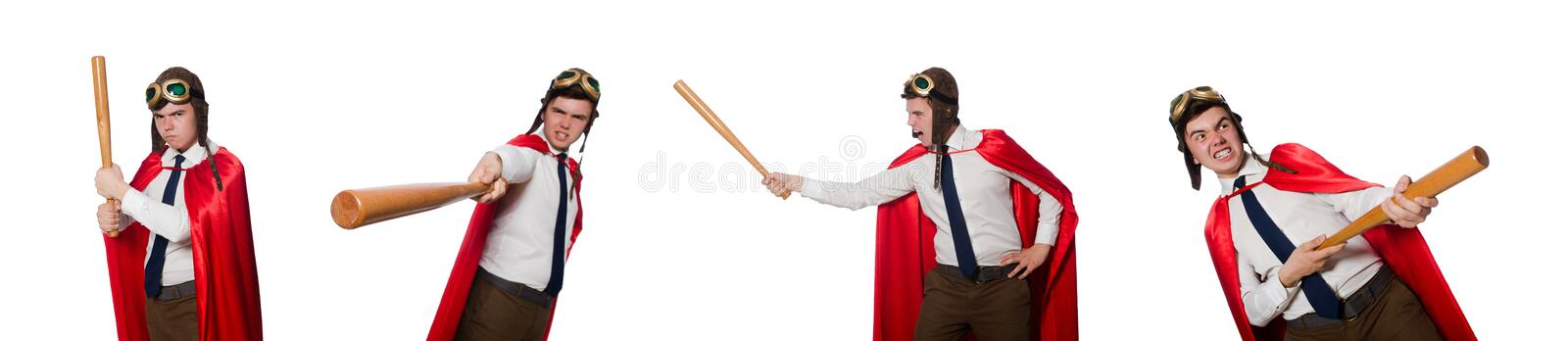 The funny hero isolated on the white stock image
