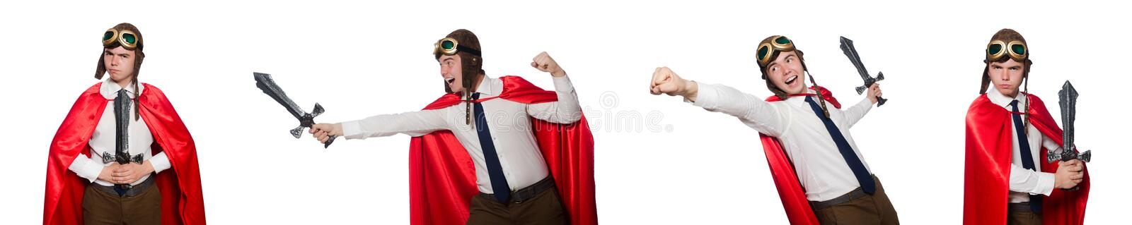 The funny hero isolated on the white stock photo