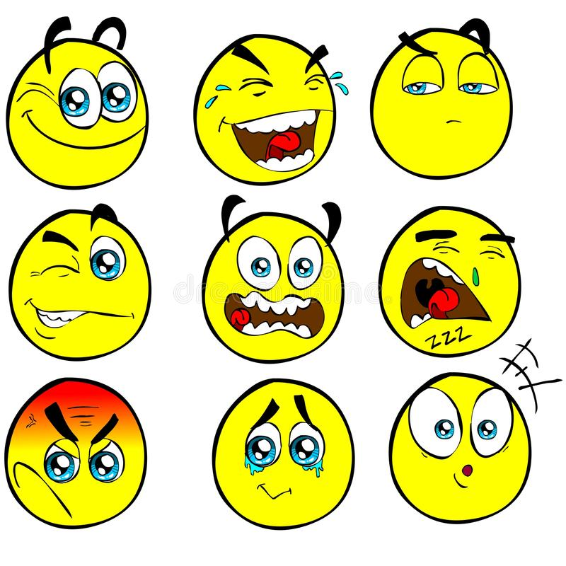 Funny HI-RES cartoon emoticons royalty free stock photography