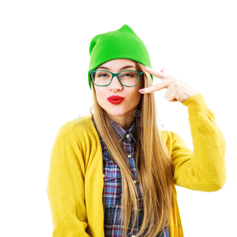 Funny Hipster Girl Going Crazy Isolated on White stock photography