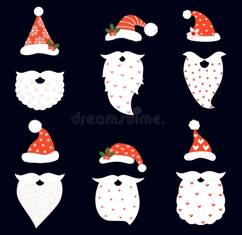 Funny and hipster vector set with Santa hats, beards. And mustaches for photo booth props and Christmas greeting cards stock illustration
