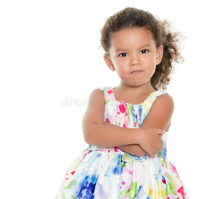 Funny hispanic girl making an angry face stock image
