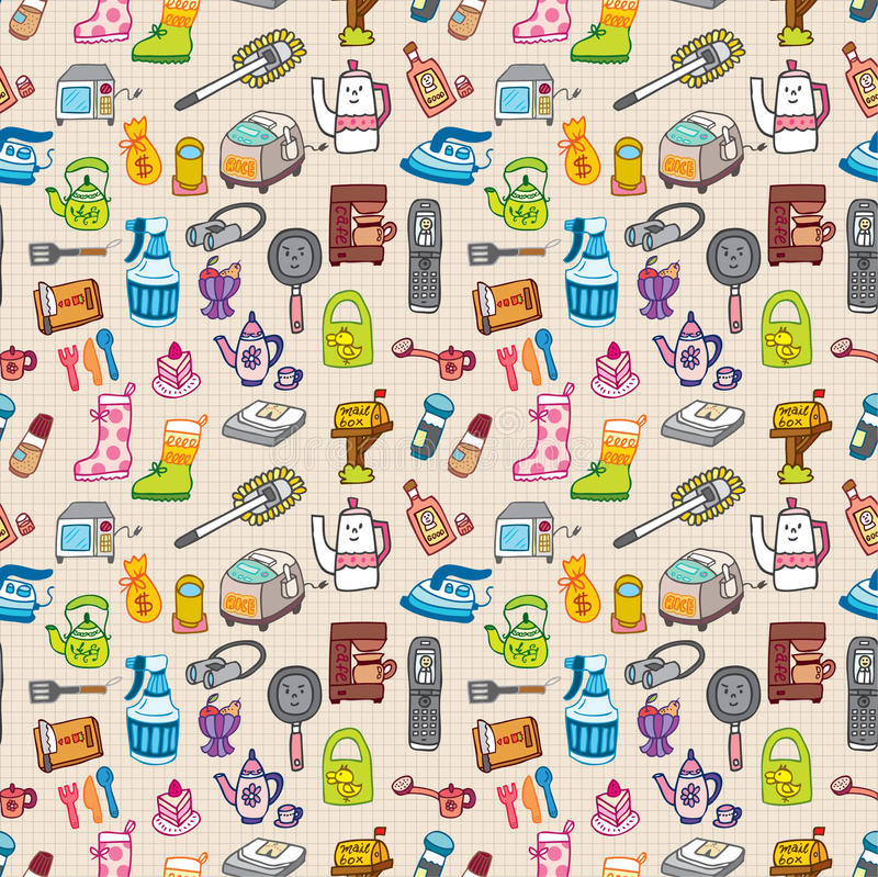 Free Funny Home Thing Seamless Pattern Royalty Free Stock Images - 16794209