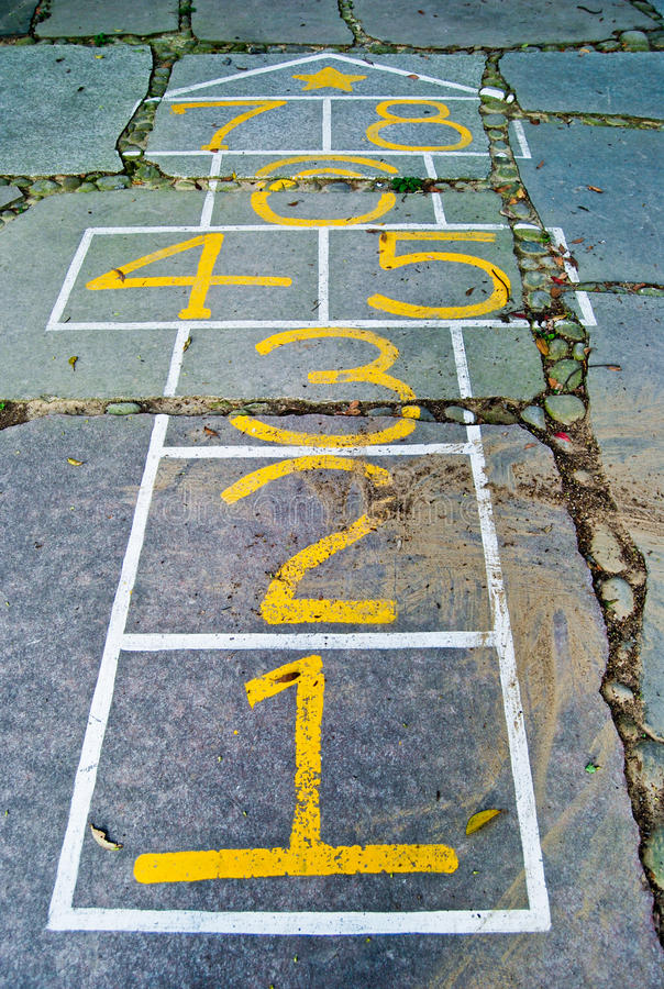 Funny Hopscotch (Numbers). Hopscotch is a children game that can be played with several players or alone. Hopscotch is a popular playground game in which players stock photo