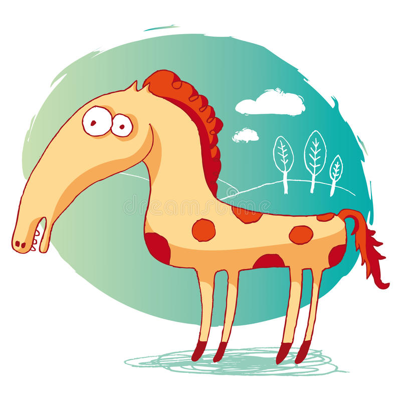 Download Funny horse stock vector. Image of meadow, animal, nature - 20981520