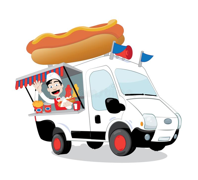 Funny hot dog van parked and friendly man serving a hot dog stock illustration