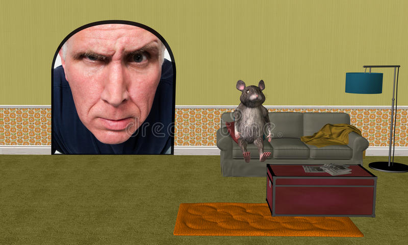 Funny House Mouse, Home Improvement. A funny house mouse has moved in and undergone extensive home improvement, remodeling, updates, and repairs. An angry