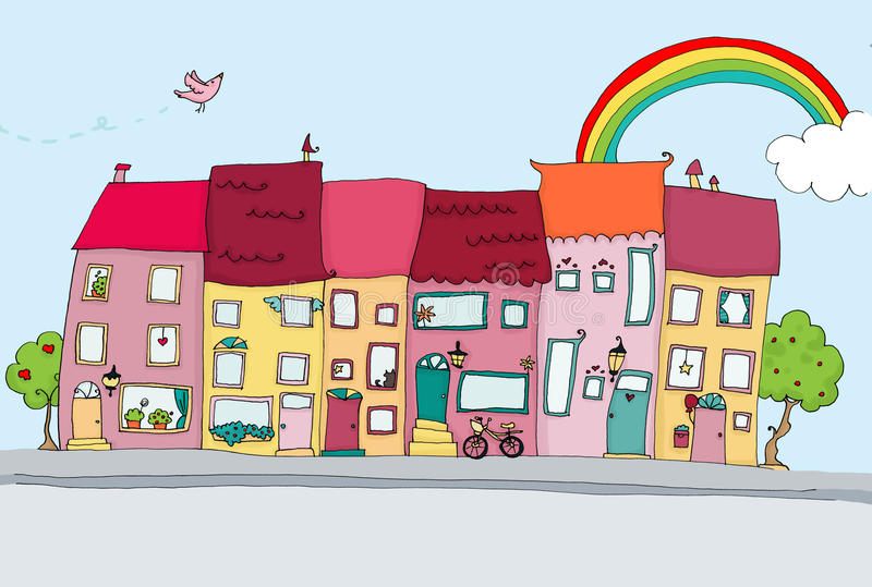 Funny houses in happy city stock images