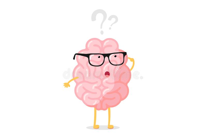 Funny human brain thought character with glasses thinks over question mark. Seeking answer cartoon brain concept. Strong vector illustration