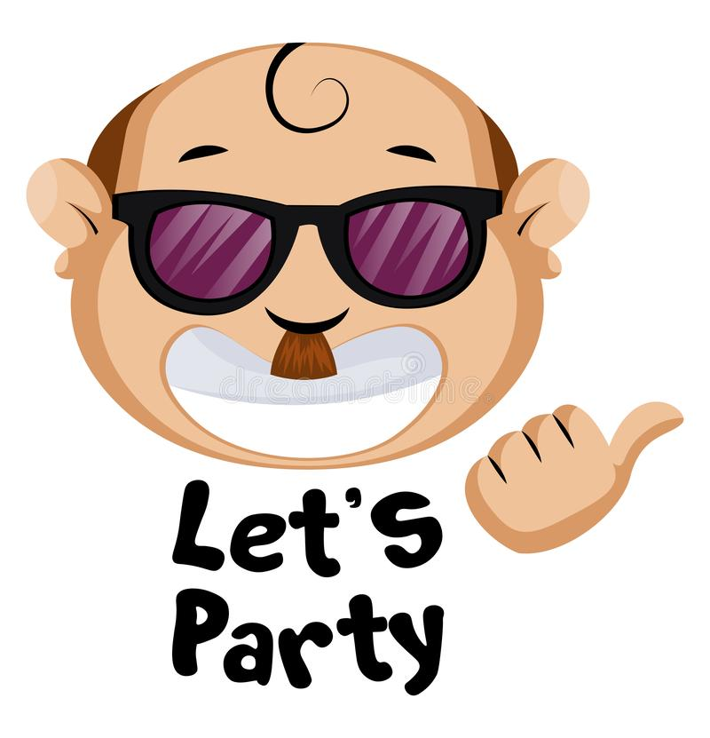 Funny human emoji with let`s party sign, illustration, vector royalty free illustration