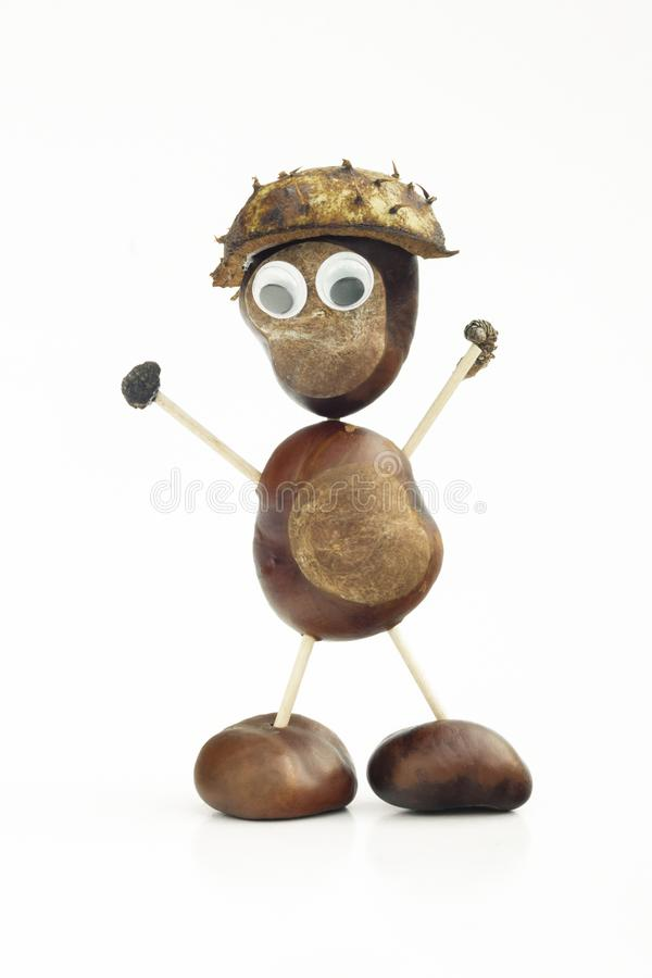 Funny human shape character or figurine made with chestnuts in w. Hite isolated background stock images
