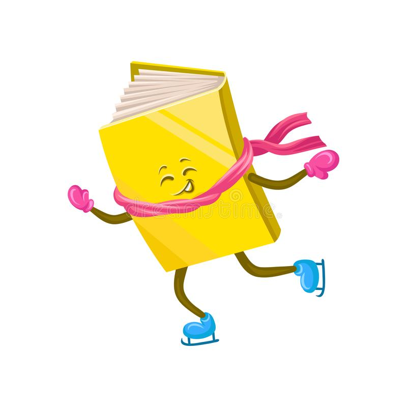 Funny humanized book character skating on ice cartoon vector Illustration vector illustration