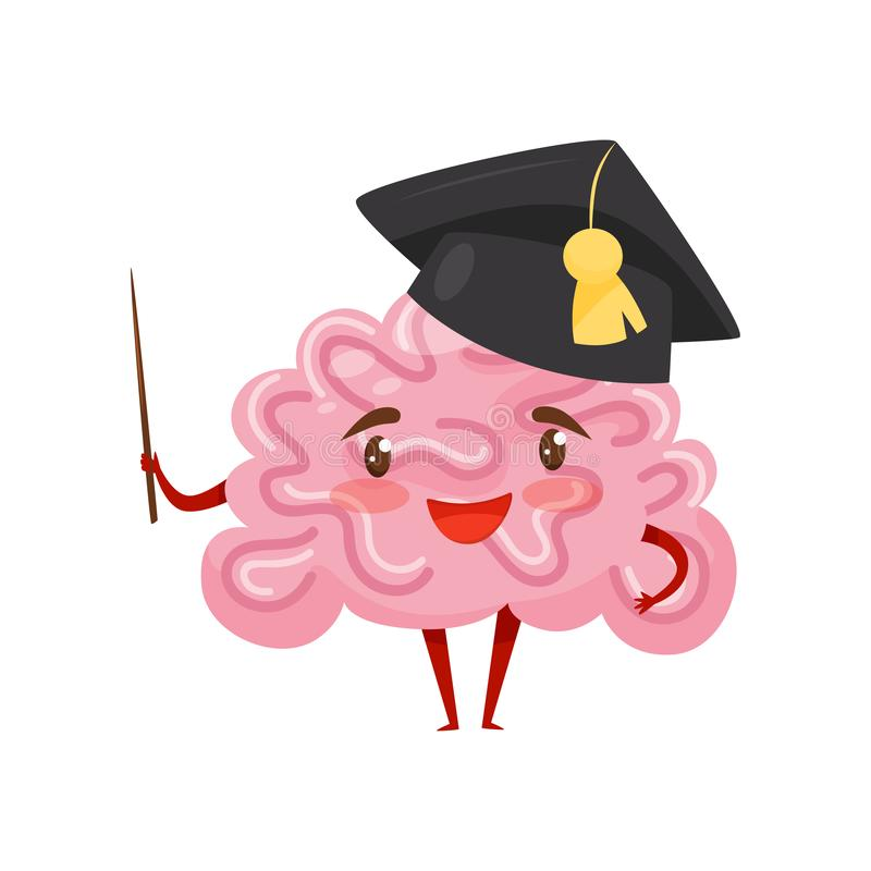 Funny humanized brain in black academic cap with pointer in hand. Cartoon character with happy face. Flat vector design royalty free illustration