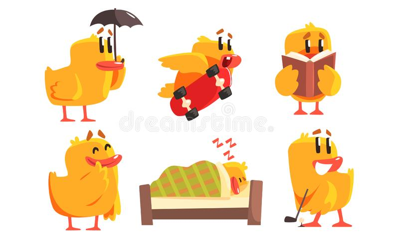 Funny Humanized Chicken in Various Situations Set, Cute Bird Cartoon Character Activity Vector Illustration. On White Background royalty free illustration