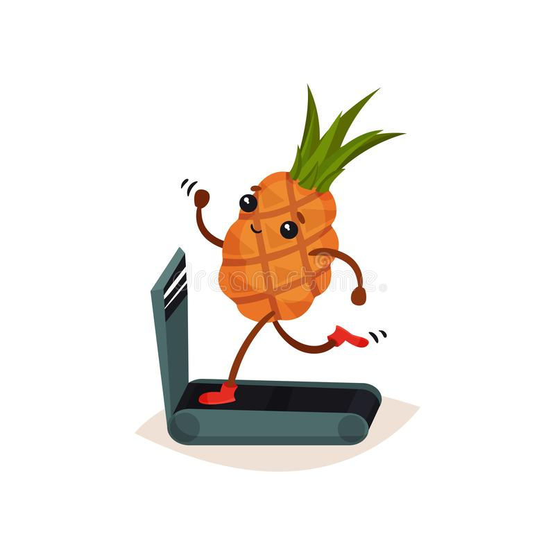 Funny humanized pineapple running on treadmill. Cartoon tropical fruit. Sport and physical activity theme. Flat vector vector illustration