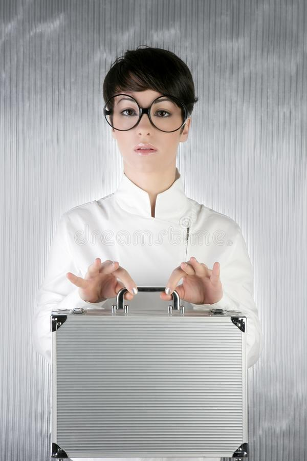 Download Funny Humor Businesswoman Silver Briefcase Stock Photo - Image: 14060670