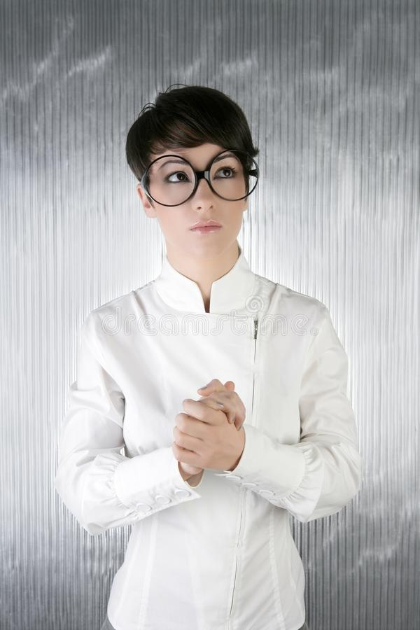 Download Funny Humor Futuristic Woman Big Glasses Stock Image - Image of cyber, hands: 14445743
