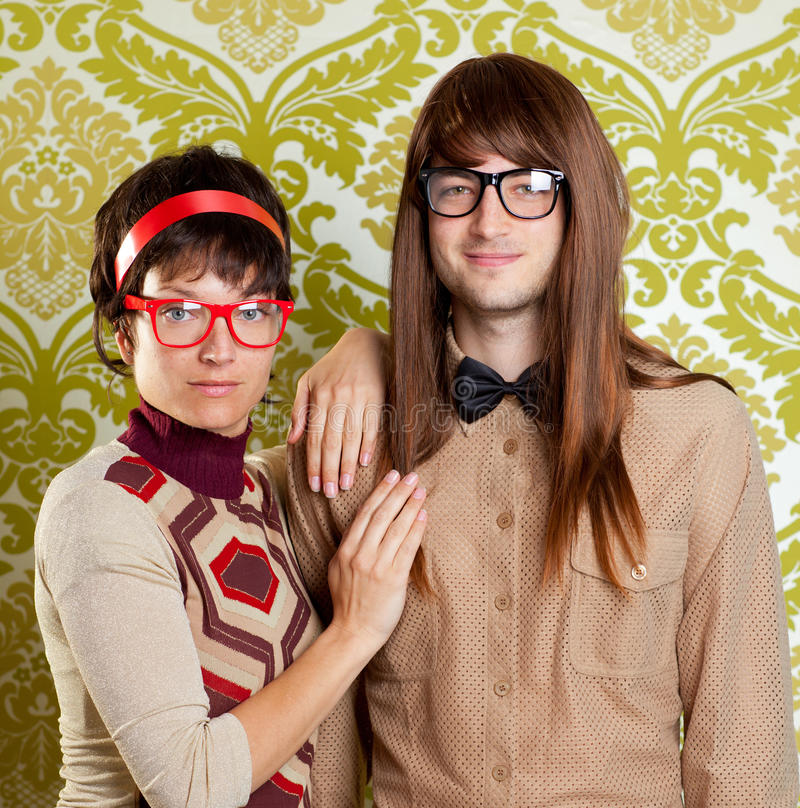 Download Funny Humor Nerd Couple On Vintage Wallpaper Royalty Free Stock Photo - Image: 24168905