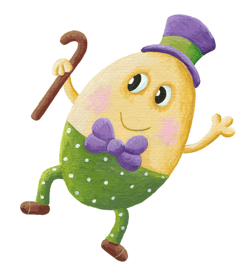 Funny Humpty Dumpty with hat stock illustration
