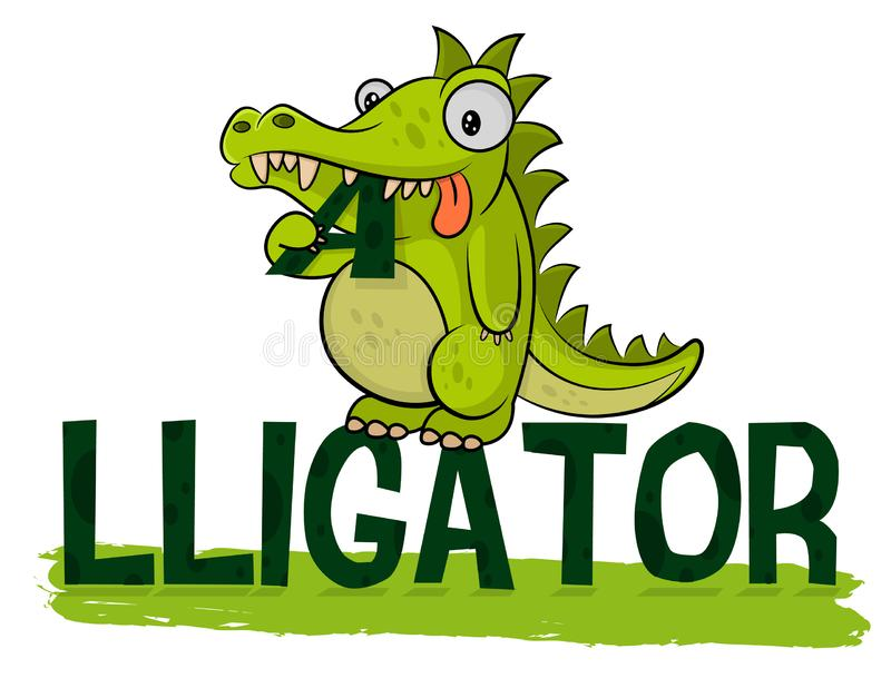 Cute hungry alligator eats logo. Crocodile Logotype Vector. Alligator illustration. Fat little croc. Friendly animal from the zoo. royalty free illustration