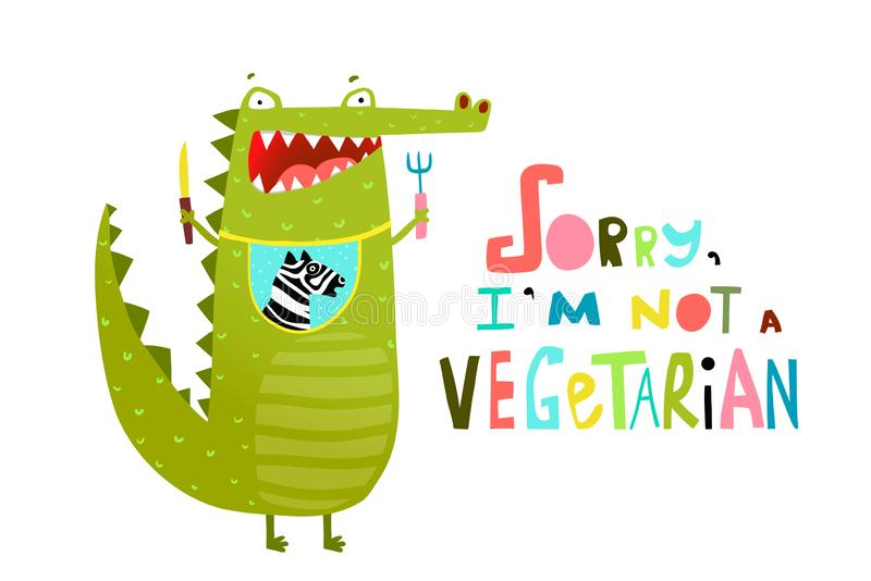 Funny Hungry Crocodile or Alligator not Vegetarian. Cartoon croco with for and knife dining. Vector cartoon stock illustration