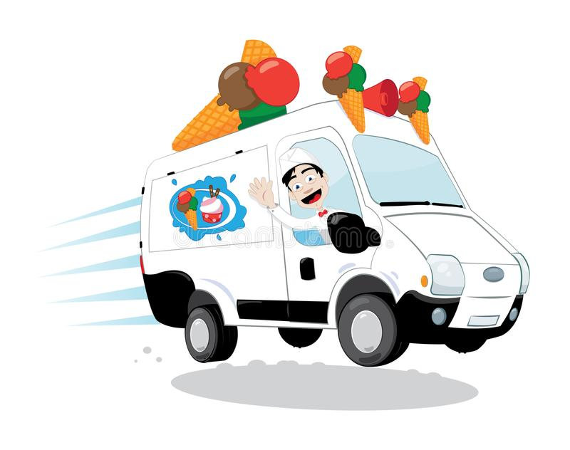 Funny ice-cream van driven by a friendly ice-cream man cheering and smiling royalty free illustration