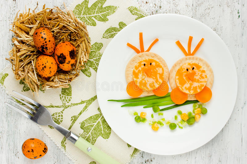 Funny idea for baby healthy shaped chick stock image