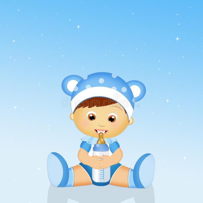 Baby with baby bottle. Funny illustration of baby with baby bottle stock illustration