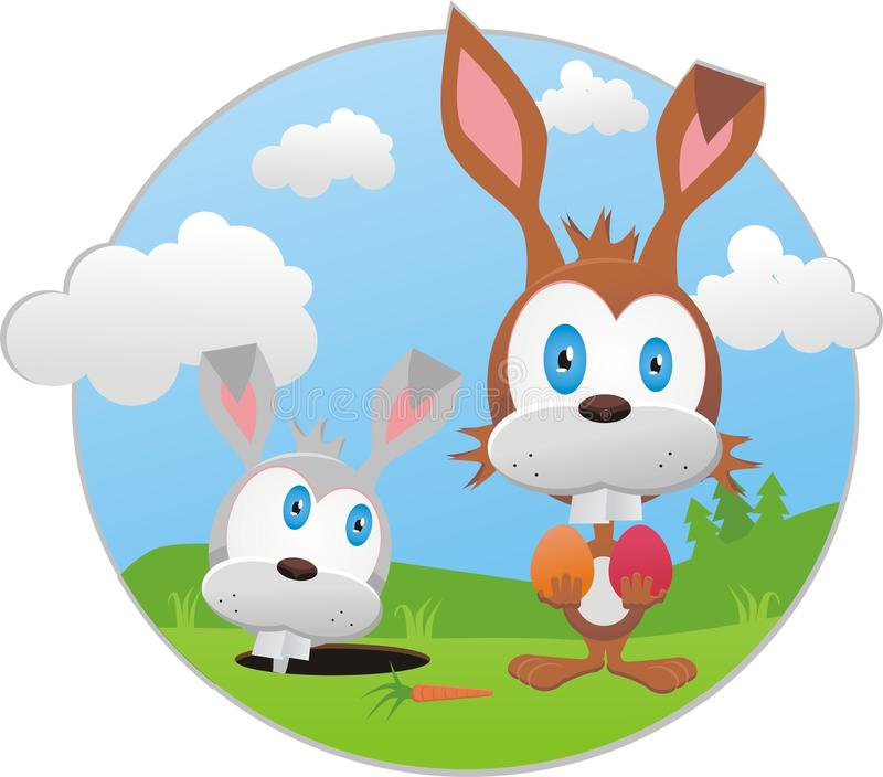 Funny illustration with easter bunny stock photography