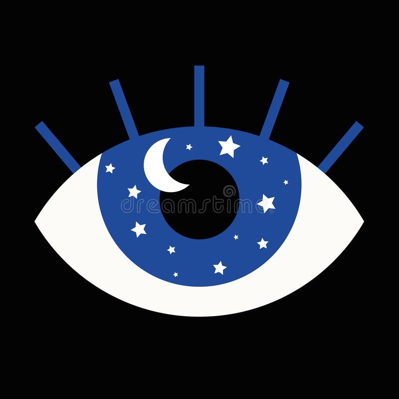 Funny illustration of eye with stars and moon in its pupi. Funny illustration of eye with fixed gaze. Inside its pupil there are stars and a moon as a metaphor stock illustration